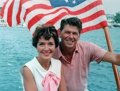 Nancy and Ronald Reagan aboard a boat in California, 1964