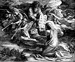 Moses receives the Ten Commandments in this 1860 woodcut by Julius Schnorr von Carolsfeld, a Lutheran.