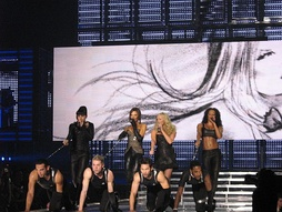 "The Spice Girls as a four-piece performing ""Holler"" in Cologne, Germany at the Return of the Spice Girls tour."