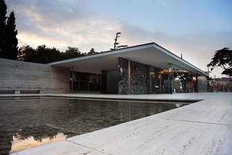 The Barcelona Pavilion (modern reconstruction) by Ludwig Mies van der Rohe (1929)