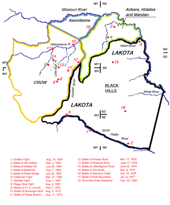 "Map indicating the battlefields of the Lakota wars (1854–1890) and the Lakota Indian territory as described in the Treaty of Fort Laramie (1851). Like the Battle of the Little Bighorn (14 on the map), most battles between the army and the Lakota ""were on lands those Indians had taken from other tribes since 1851"".[1][2][3][4] The steady Lakota invasion into treaty areas belonging to smaller tribes[5] ensured the United States firm Indian allies in the Arikaras[6] and the Crows during the Lakota Wars.[7][8][9]"