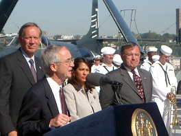 George Pataki at the USS New York, September 7, 2002 (back row, left)