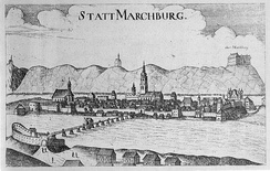 Maribor in the 17th century. A copper engraving by Georg Matthäus Vischer, 1678.