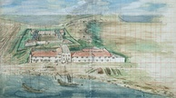 Overview of Fort Zeelandia (Fort Anping) in Tainan, Taiwan, painted around 1635 (National Bureau of Archives, The Hague)