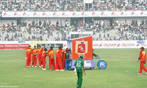 Zimbabwean players take the drinks break in their ODI match against Bangladesh at Sher-e-Bangla Cricket Stadium, Dhaka on 23 January 2009.
