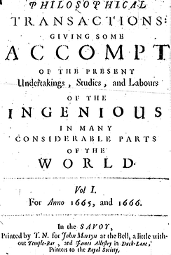 Cover of the first volume of the Philosophical Transactions of the Royal Society, the first journal in the world exclusively devoted to science