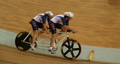 Cycling: Karissa Whitsell and Mackenzie Woodring (pilot) from the United States, compete in Beijing 2008