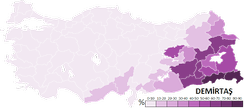 Votes obtained by Demirtaş throughout the 81 Provinces of Turkey