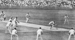 Bill Woodfull evades a Bodyline ball. Note the number of leg-side fielders.