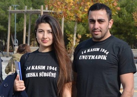 Young Ahiska Turks wearing T-shirts that read: 14 November 1944, We have not forgotten the deportation.