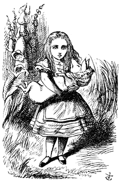 John Tenniel's illustration of Alice and the pig from Alice's Adventures in Wonderland (1865)