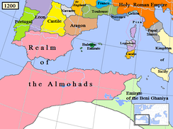 The Islamic Almohad dynasty and surrounding states, including the Christian Kingdoms of Portugal, León, Castile, Navarre, and the Crown of Aragon, c. 1200.