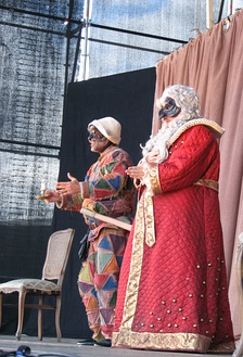 Harlequin and Pantalone in a 2011 play in Tallinn, Estonia.