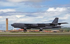 A B-52H Stratofortress of the 2d Bomb Wing takes off from Andersen Air Force Base, Guam