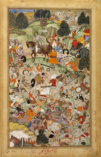 Battle of rival ascetics in 1567. Hindu-Muslim conflicts provoked the creation of a military order of Hindu ascetics in India.