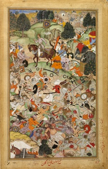 The Mughal Army commanded by Akbar attack members of the Sannyasa during the Battle of Thanesar.