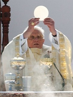 Pope Benedict XVI celebrates the Eucharist at the canonization of Frei Galvão in São Paulo, Brazil on 11 May 2007