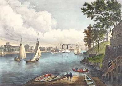 Blackwells Island from Eighty Sixth Street, Currier & Ives (1862); Blackwell's Island is now known as Roosevelt Island