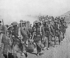 British troops, possibly from the 13th Division, on the march in Mesopotamia.  In February 1916, the division was sent to Mesopotamia (modern day Iraq) to reinforce the Tigris Corps. This picture, possibly taken in 1917 because of the prevalence of steel helmets, show British soldiers on the march in Mesopotamia.