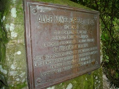 A plaque commemorating Cabeza de Vaca as the first European to see the Iguazu Falls