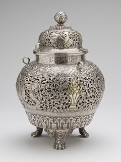 Censer from Tibet, late 19th century, silver