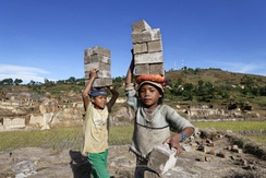 These young boys are among the millions of children in child labour worldwide. They work at a brickyard in Antsirabe, Madagascar.