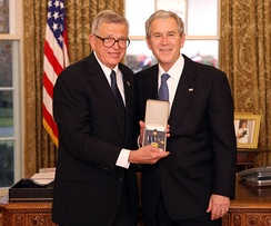 Colson with President George W. Bush after receiving the Presidential Citizens Medal, December 20, 2008