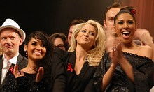 From left to right: Bahar Kızıl, Mandy Capristo, and Senna Guemmour at the Cover Me charity concert in Cologne, Germany in December 2009.