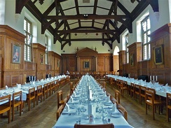 The Dining Hall, with the tables laid for Formal Hall