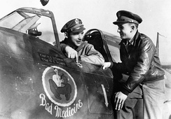 "Captain Harold E. Stump and Second Lieutenant George J. Hays of the 78th Fighter Group with a P-47 Thunderbolt nicknamed ""Bad Medicine"", 15 October 1943"