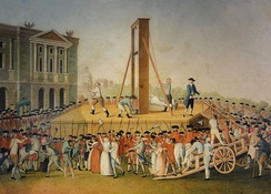 Marie Antoinette's execution on 16 October 1793: Sanson, the executioner, showing Marie Antoinette's head to the people (anonymous, 1793).
