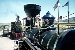 Replicas of Union Pacific No. 119 and the Jupiter at (the then named) Golden Spike National Historic Site.