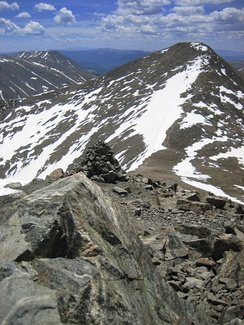 Grays Peak, here in mid-June 2007, at 4,352 m (14,278 ft) it is the highest point of the Continental Divide in North America.
