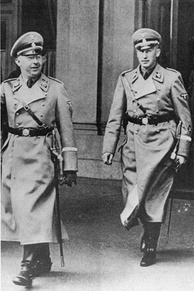 Heinrich Himmler (L) and Reinhard Heydrich (R). As head of the Nazi security forces, they were both vehement anti-Catholics.