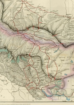 1878 British map, with trade routes between Ladakh and Tarim Basin marked. The border preferred by British Indian Empire, shown in two-toned purple and pink, included the Aksai Chin and narrowed down to the Yarkand River.