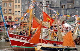Decorated boats in Honfleur harbour