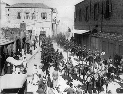 Indian troops marching in Haifa in 1918