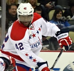 Joel Ward scored the overtime series-winning-goal in game seven against a heavily-favored Boston Bruins, in the 2012 playoffs.