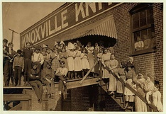 Child labor at Knoxville Knitting Works, photographed by Lewis Wickes Hine in 1910