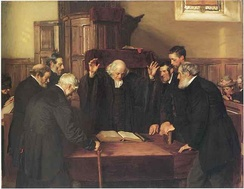 The Ordination of Elders in a Scottish Kirk, by John Henry Lorimer, 1891. National Gallery of Scotland.