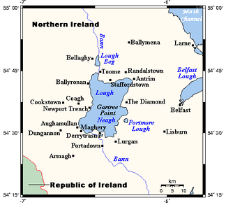Lough Neagh and settlements surrounding it