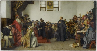 Martin Luther at the Diet of Worms, where he refused to recant his works which were deemed heretical by the Catholic Church (painting from Anton von Werner, 1877, Staatsgalerie Stuttgart)