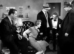 Humphrey Bogart, Mary Astor, Peter Lorre and Ward Bond in The Maltese Falcon (1941)