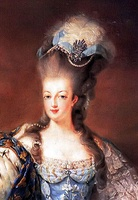 Marie Antoinette wearing the distinctive pouf style coiffure; her own natural hair is extended on the top with an artificial hairpiece.