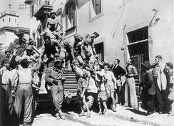 Brazilian soldiers greet Italian civilians in the city of Massarosa, September 1944. Brazil was the only independent Latin American country to send ground troops to fight in WWII.