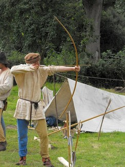 Historical reenactment of medieval archery