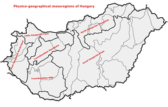 Physico-geographical mesoregions of Hungary: Great Hungarian PlainNorth Hungarian MountainsTransdanubian MountainsTransdanubian HillsLittle Hungarian PlainWest-Hungarian Borderland