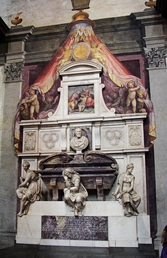 Michelangelo's tomb in the Basilica of Santa Croce, Florence.