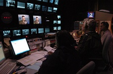 Behind the scenes at The Newshour, during a Gen. Peter Pace interview
