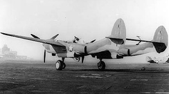 P-38E testbed 41-1986 shown with second version of upswept tail designed to keep tail out of water upon takeoff for a proposed twin-float variant
